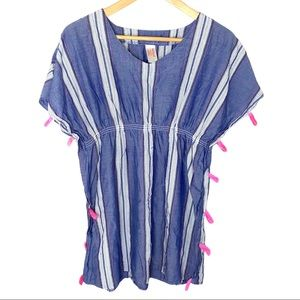 Cat & Jack Striped Woven Caftan Cover-Up - XL
